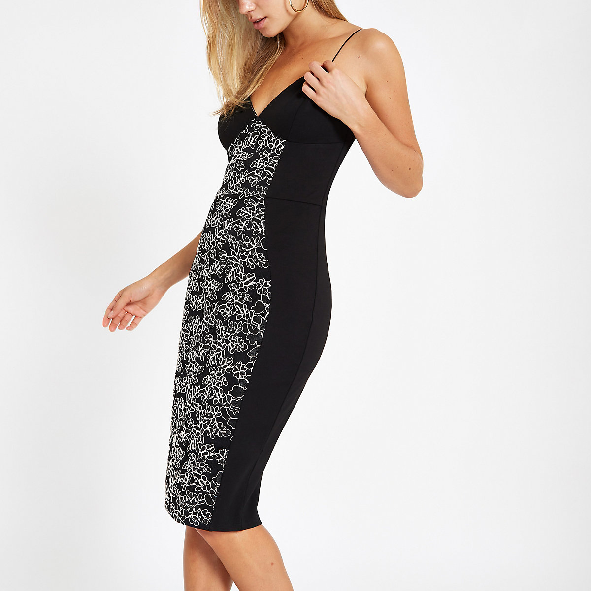 Black ponte lace panel bodycon midi dress