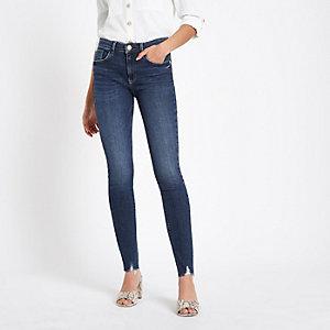 Amelie - Donkerblauwe skinny jeans met onafgewerkte zoom