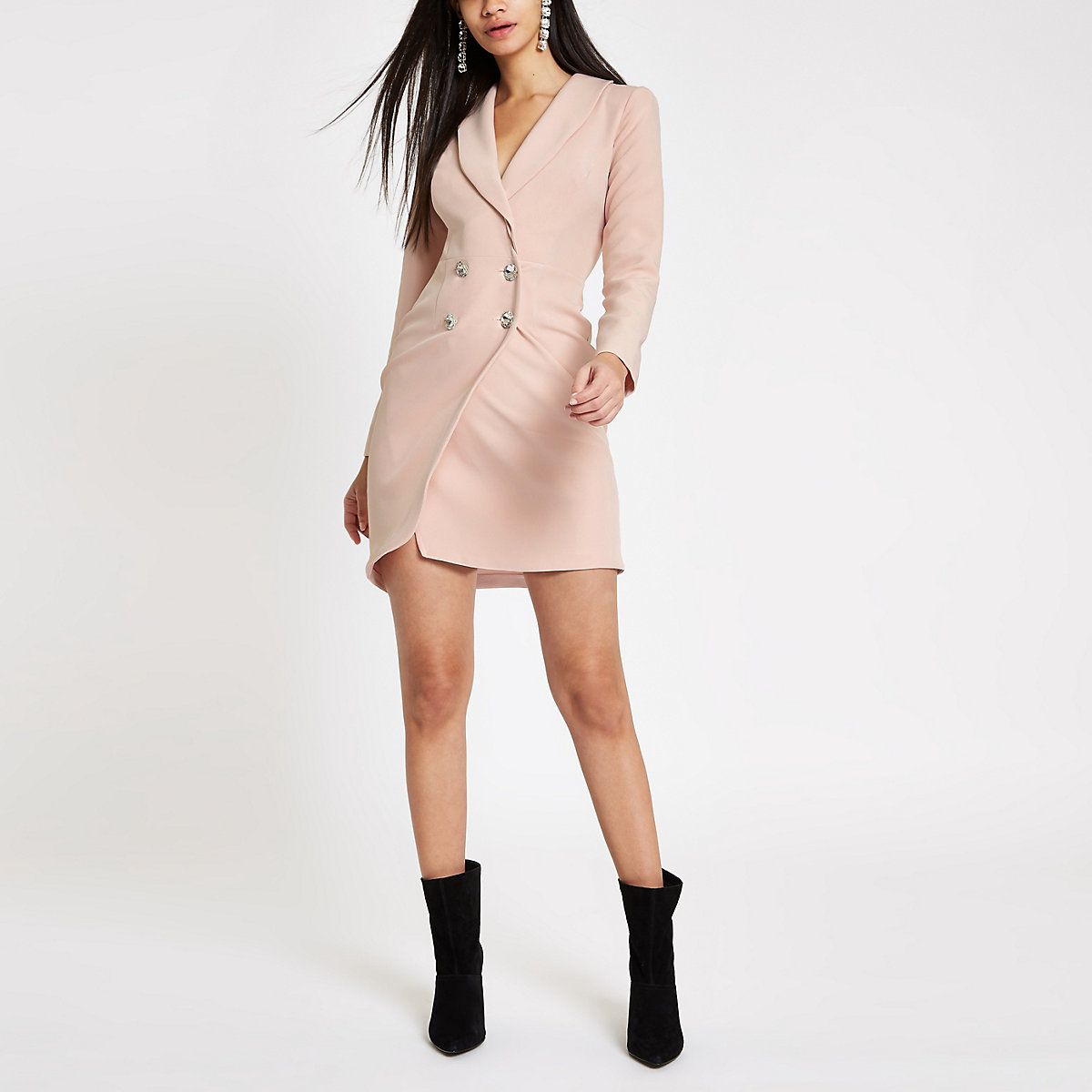 Light pink rhinestone bodycon tux dress