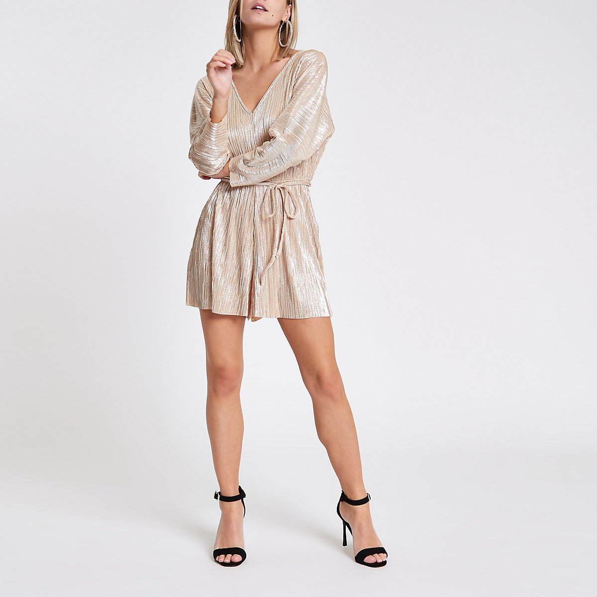 Petite gold plisse batwing sleeve playsuit