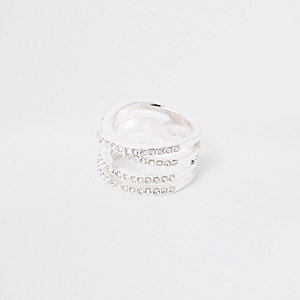 Silver colour diamante double kiss ring