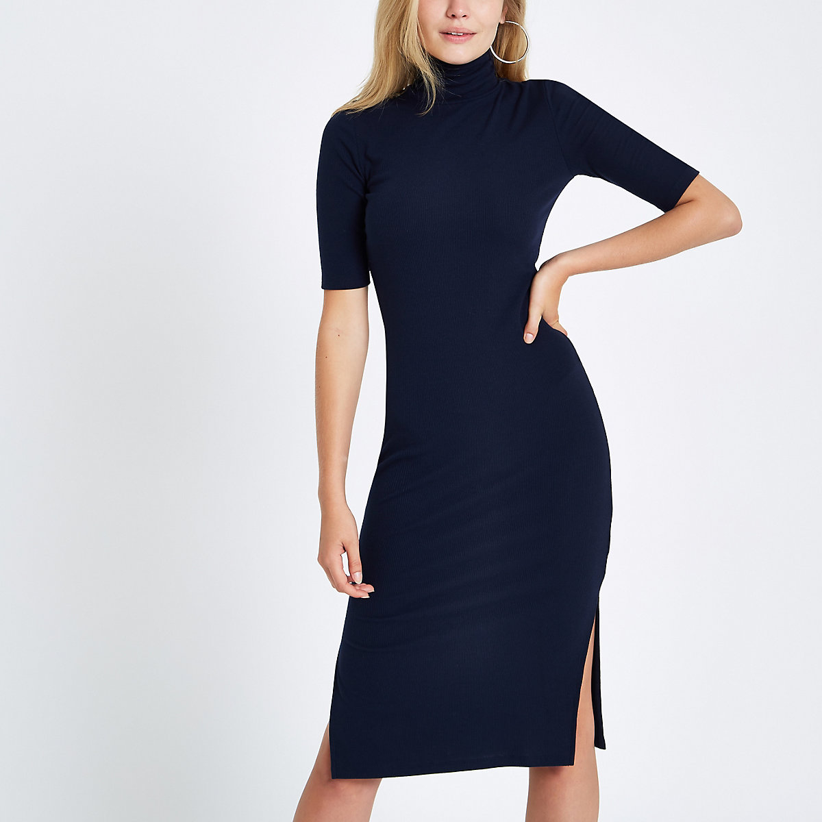 Navy ribbed roll neck bodycon midi dress