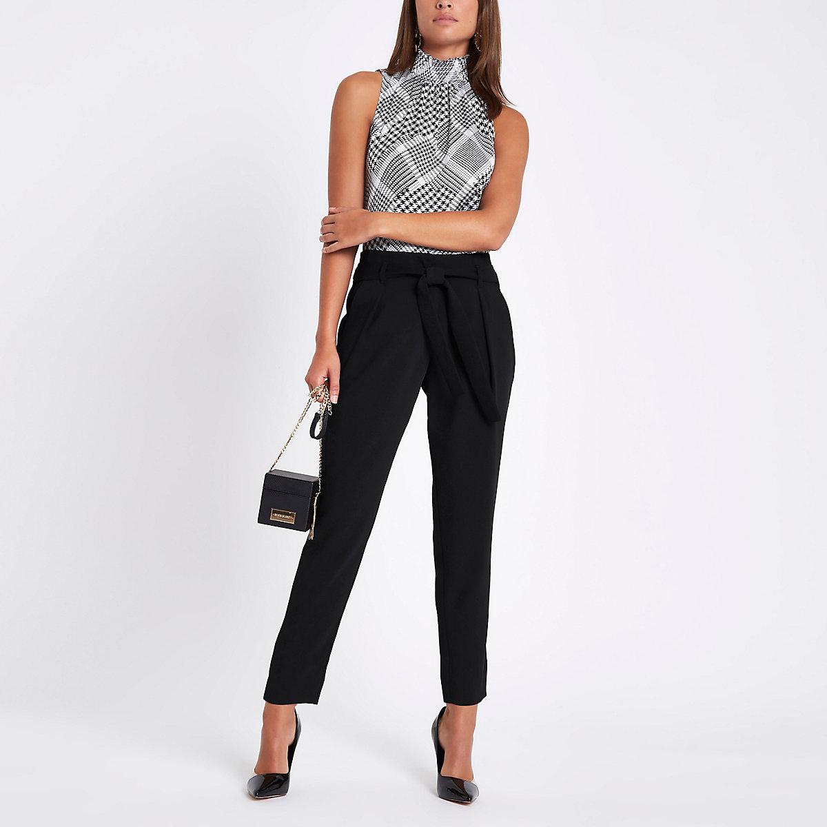 Black tie waist tapered pants
