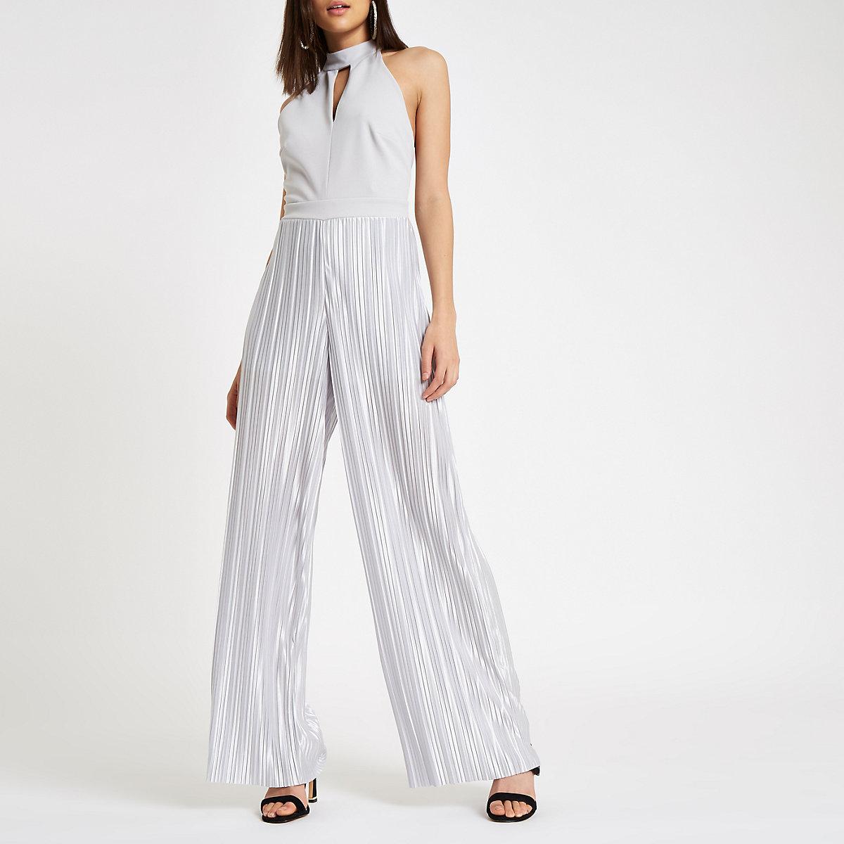 Silver halter neck wide leg plisse jumpsuit