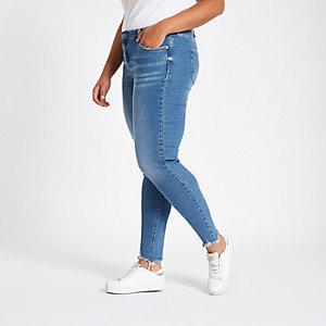 Plus mid blue Amelie mid rise skinny jeans