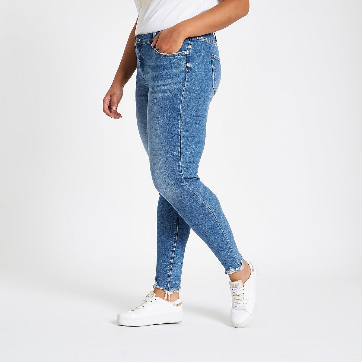 Plus – Amelie – Jean skinny bleu moyen taille mi-haute