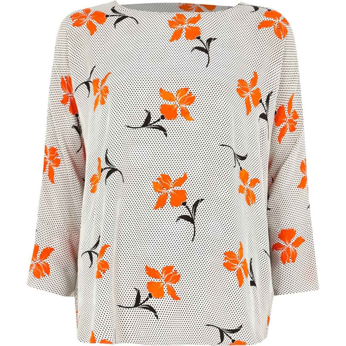 bar floral top back Orange print TEfdwpUUq