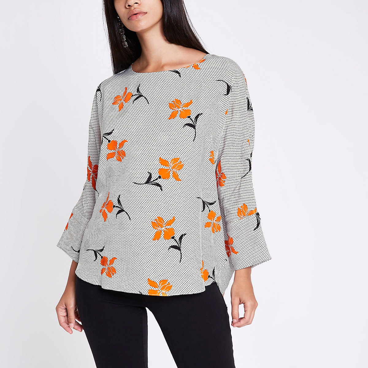 Orange floral print bar back top