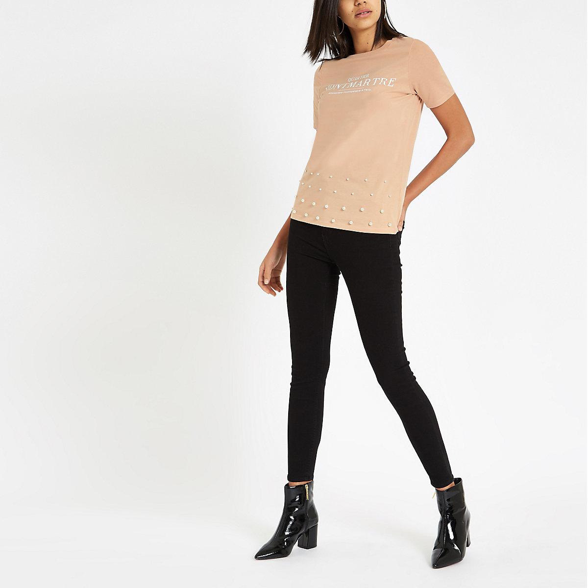 Beige print pearl embellished hem T-shirt