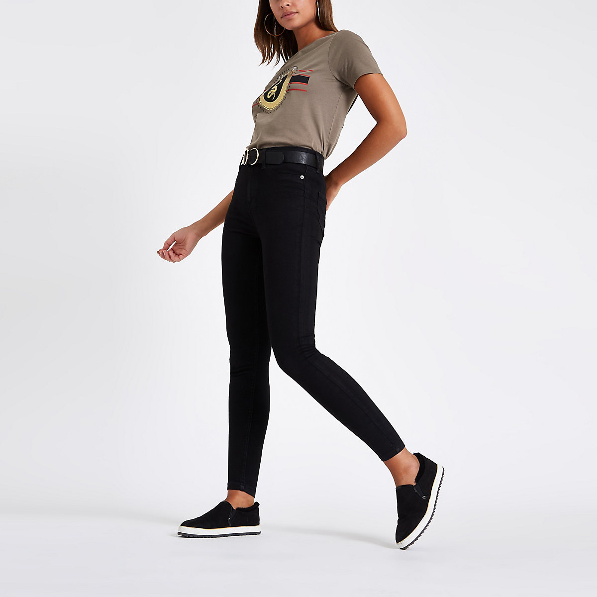 Khaki 'Amour' print fitted T-shirt