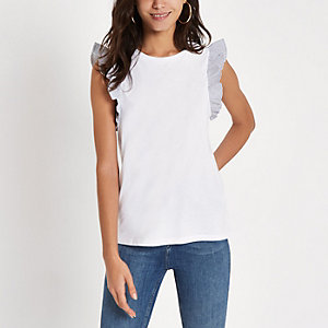 White stripe broderie frill sleeve tank top