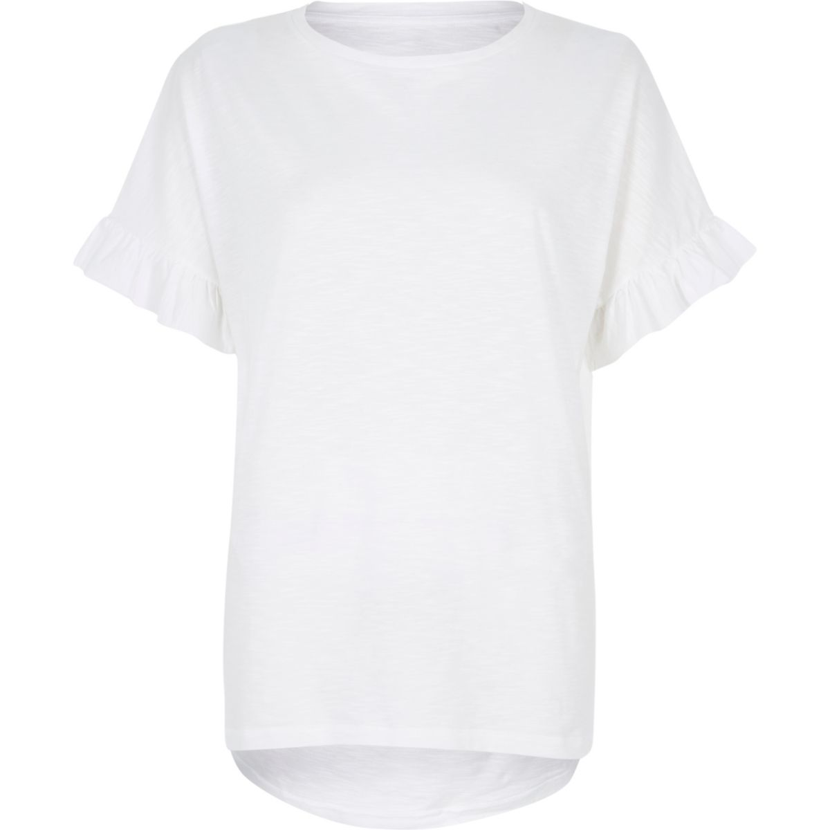 Frill Sleeve White Tee