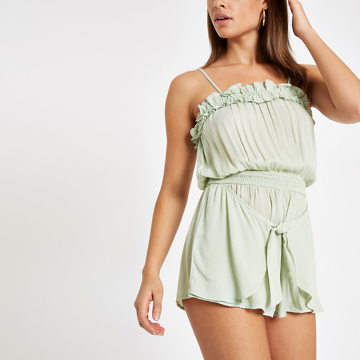Green ruffle knot front beach playsuit