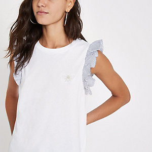 White stripe broderie wasp frill sleeve top