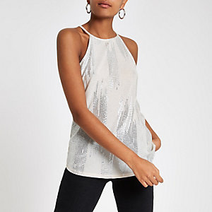Gold metallic halter neck cami top