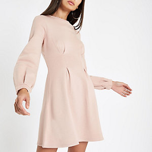Pinkes, langärmliges Pulloverkleid