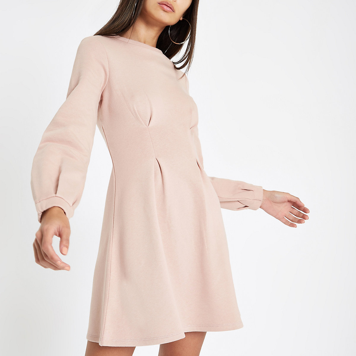 Pink long sleeve sweater dress