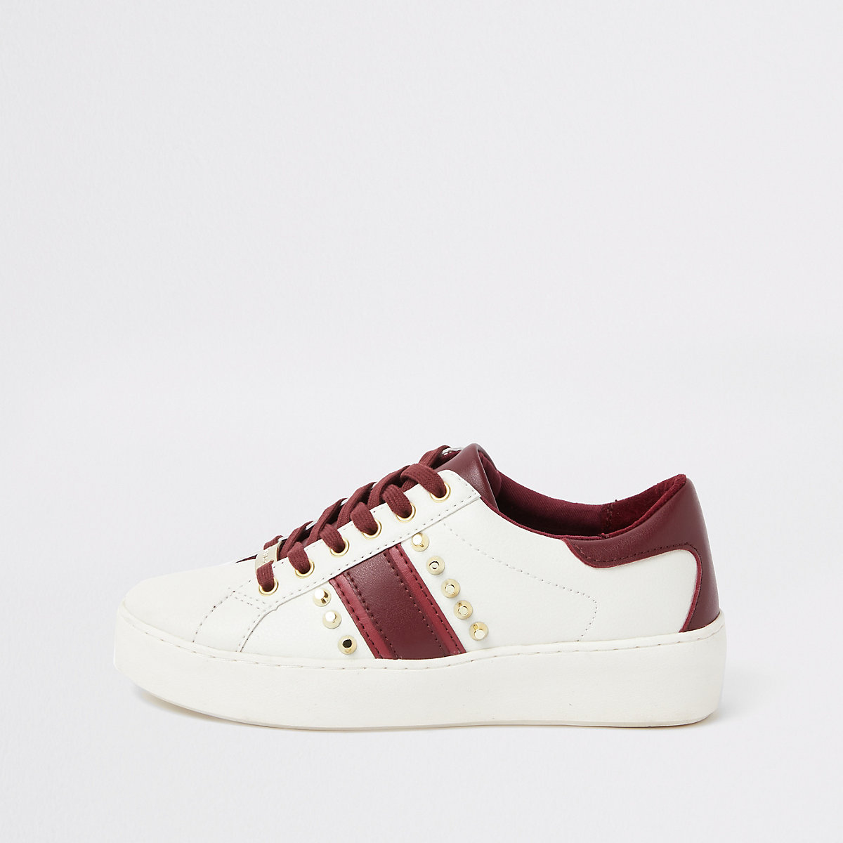 White studded lace-up side stripe sneakers