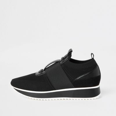 Black Knitted Elastic Runner Shoes by River Island