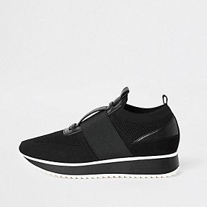 Chaussures de course en maille noires élastiques