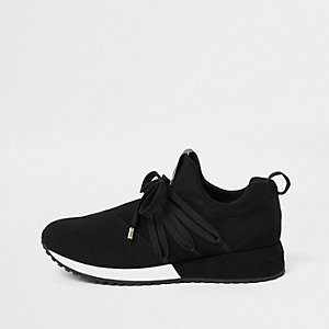 Black RI lace up runner sneakers