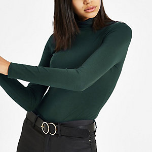 Khaki green high neck long sleeve top