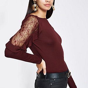 Burgundy lace detail long sleeve top