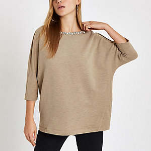Beige embellished trim sweatshirt