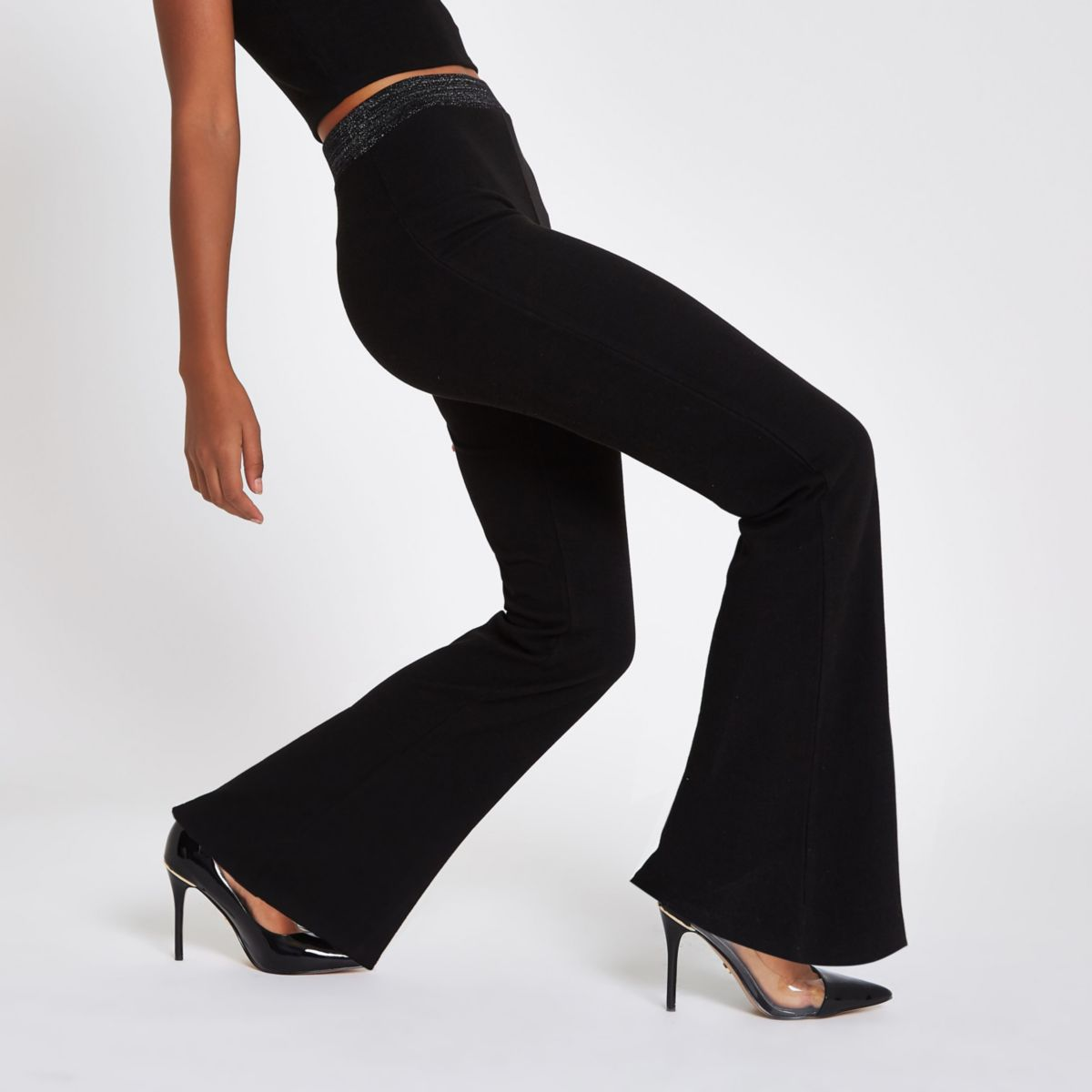 Black jersey wide leg metallic pants