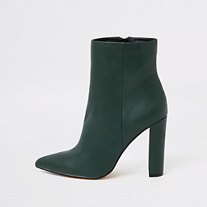 Dark green pointed toe block heel boots