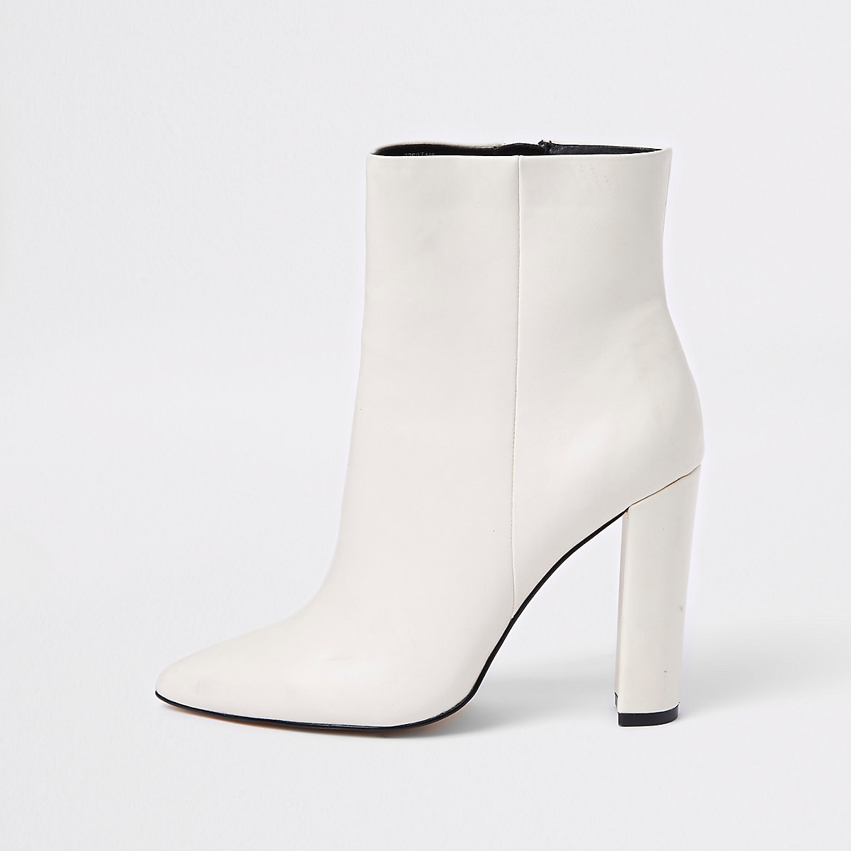 White pointed toe block heel boots
