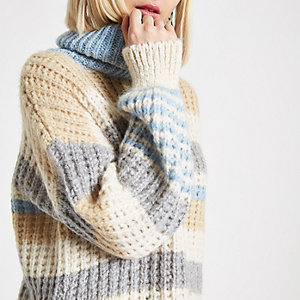 Blue stripe roll neck jumper