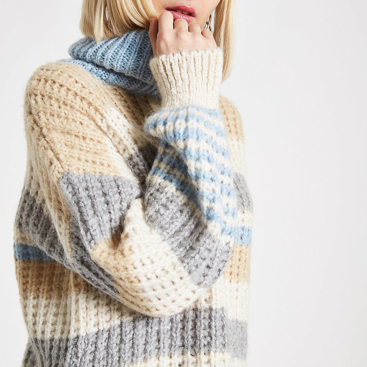 Blue stripe roll neck sweater