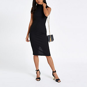 Petite black halter neck midi bodycon dress