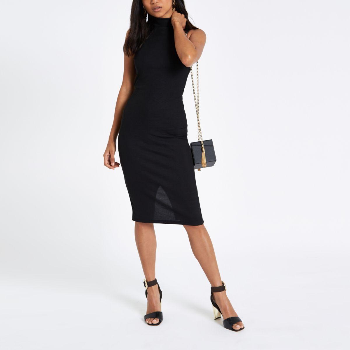 Petite black halter neck midi bodycon dress