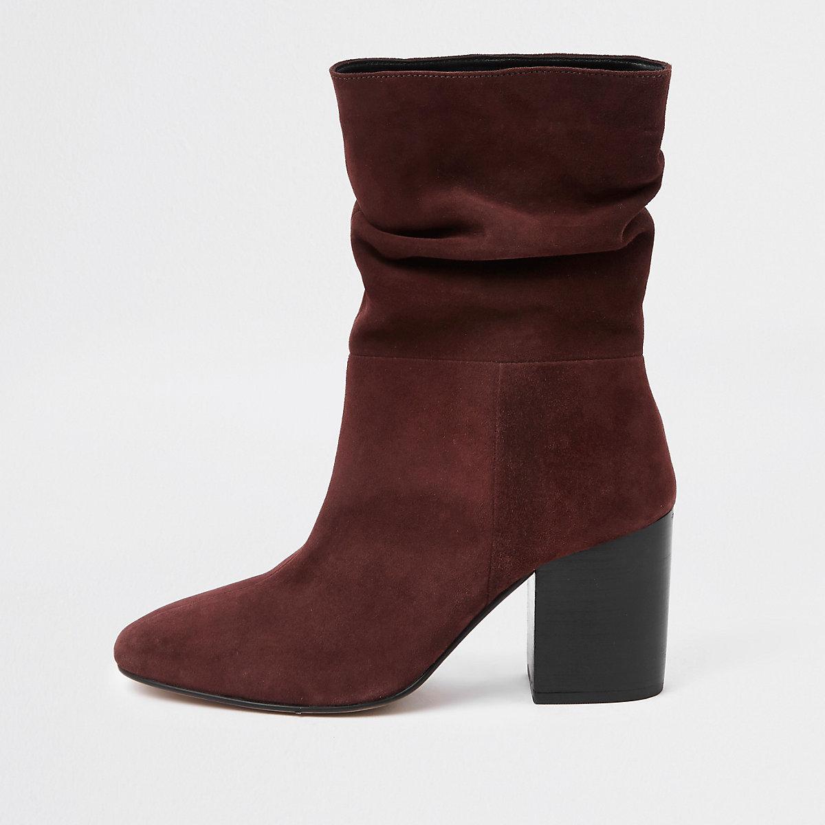 Dark red block heel slouch boots