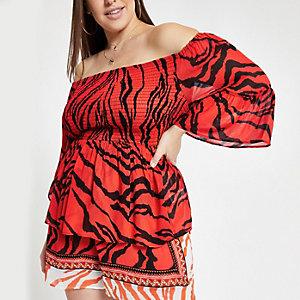 Plus – Rotes Bardot-Oberteil mit Zebraprint