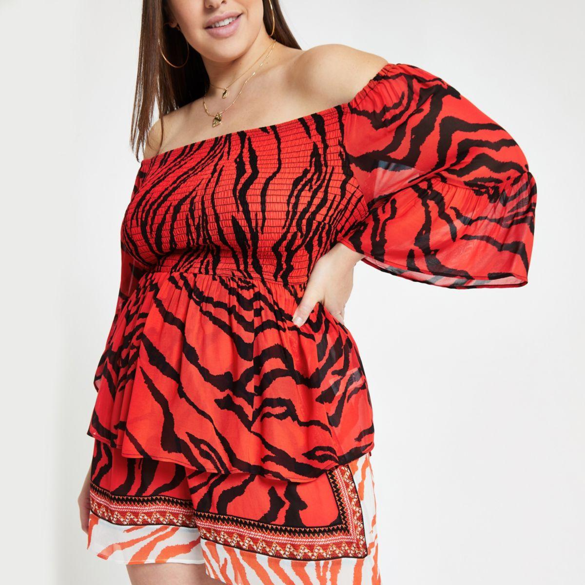 Plus red zebra print bardot top
