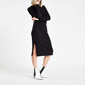 Black belted sweater dress