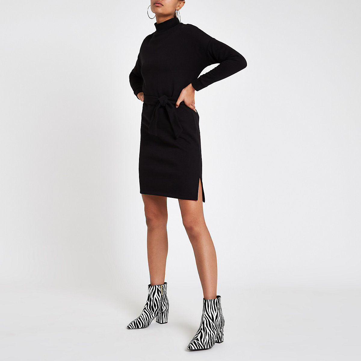 Black high neck belted sweater dress