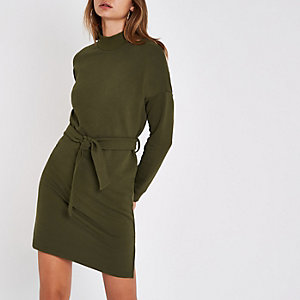 Khaki high neck belted sweater dress