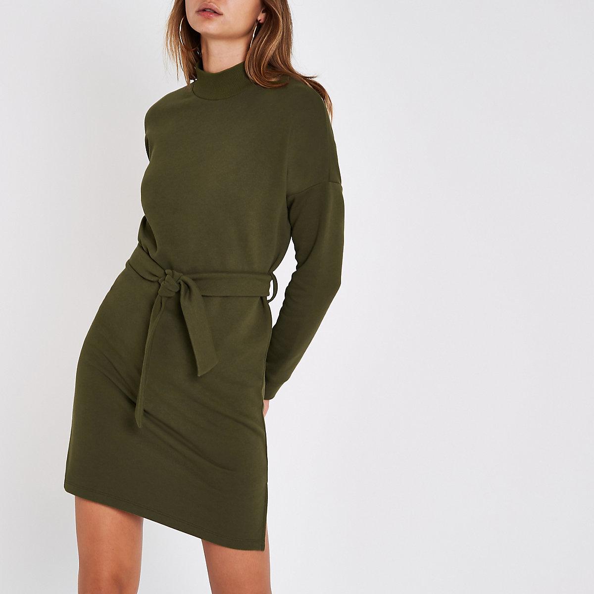 Khaki high neck belted sweater dress