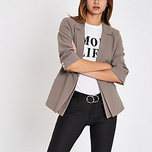 Grey double layer ruched sleeve blazer