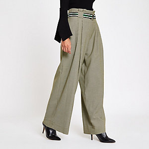 Petite grey check belted wide leg trousers