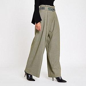 Petite – Pantalon large à carreaux gris avec ceinture