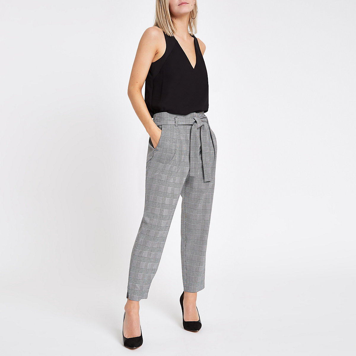 Petite black check tapered pants