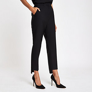 Petite black straight leg trousers
