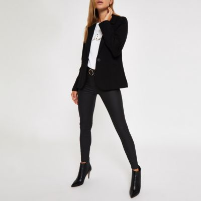 Black Long Sleeve Fitted Knit Blazer by River Island
