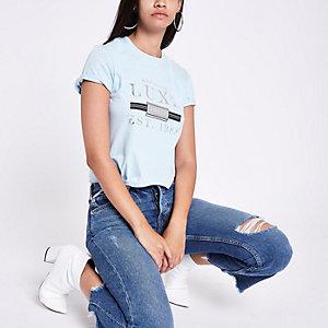 Light blue 'Luxe' print tie crop T-shirt