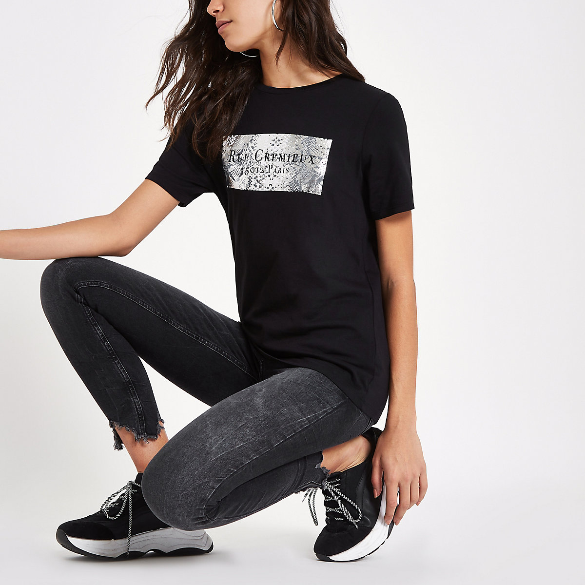 Black 'Rue Cremiux' print T-shirt